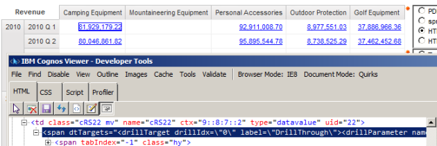 drillthrough HTML