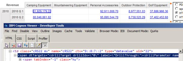 drillthrough HTML